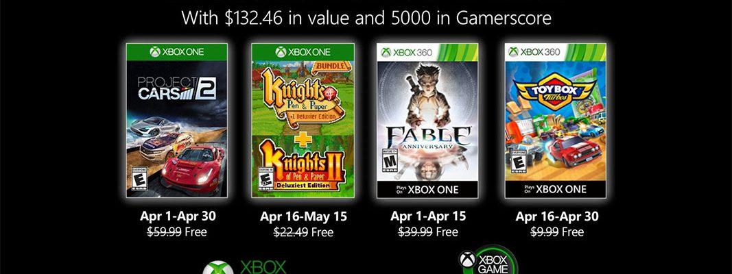 Xbox Games with Gold de Abril 2020