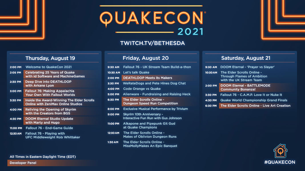 Calendário QuakeCon 2021